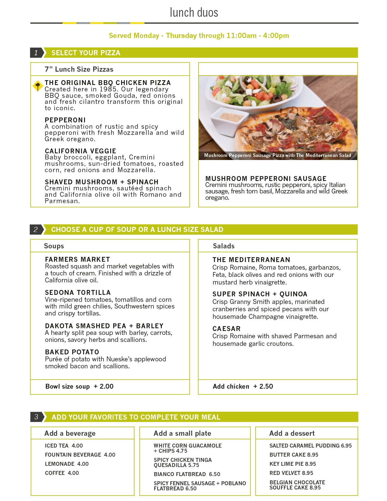 california pizza kitchen menu lunch duo bbq chicken pizza and